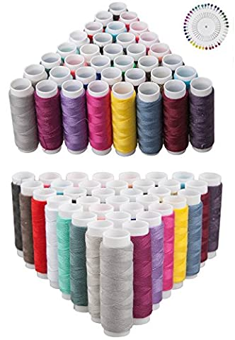 DIKETE® 79pcs Sewing kit, 39pcs Spools Sewing Threads Polyester + 40pcs Round Faux Pearl Sewing Corsage Straight Dressmaking Pins 38mm, Multi-colours for Quilting Stitching Knitting