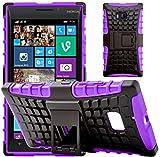G-Shield Nokia Lumia 930 Hülle Silikon mit Ständer Stoßfest Schutzhülle Dünn Tasche Hybrid Armor Cover Case Etui Handyhülle mit Displayschutzfolie und Stylus - Lila