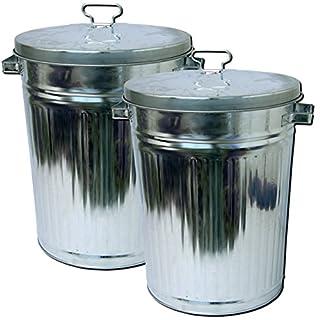 AiO-S - OK (2 Stück) XXL Abfalleimer 55 L Zinkeimer mit Deckel Mülltonne Zinkmülleimer
