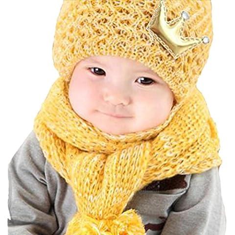 Tefamore Sombrero bebe suave encantador de los niños hechos punto + bufanda Dos pedazos determinados