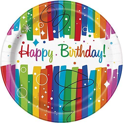 Unique Party 49565 -  Piatti per Feste di Compleanno con Nastri Arcobaleno, diametro 21.9 cm, Confezione da 8