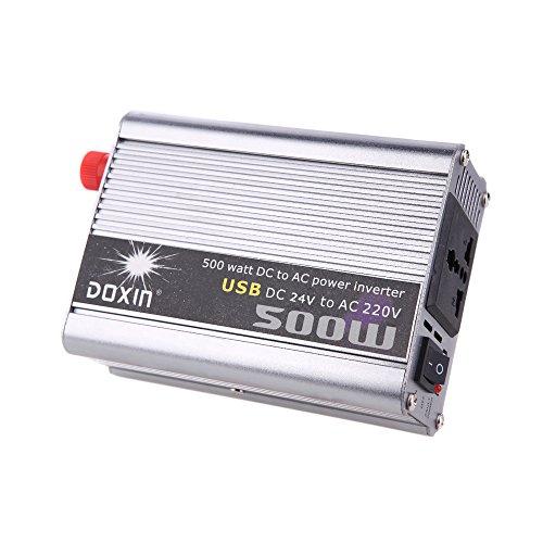 KKmoon 500W Inversor de Corriente de Coches Car Power Inverter DC 24V a AC 220V + USB Transformador Voltaje Portable