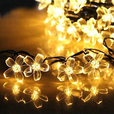 ZJ Stringa di fata solare luci LED ciliegio decorativi giardini, prati, giardini, alberi, matrimonio , warm white