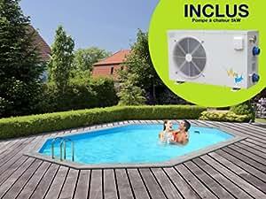 Viva Pool - Piscine bois Marbella 7.27 x 3.96 x 1.38 m + Pompe à chaleur 5 kW