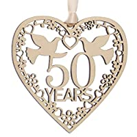 Alphabet barn Golden Wedding Anniversary 50 Years Married Gift Wooden Present for Her Couples Husband Wife UK made (50 years)
