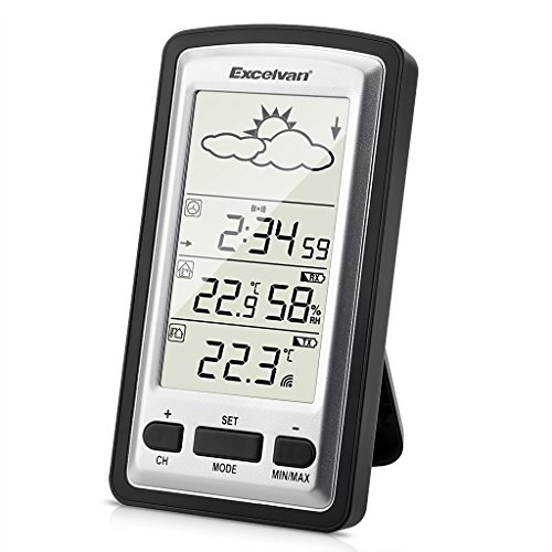 EXCELVAN Wireless Stazione Meteo Digitale - Monitor Indoor & Outdoor Min /...