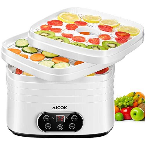 Aicok Deshidratador con temporizador hasta 72 horas y regulador de temperatura de 35~70 °C, 5 pisos, deshidratador de alimentos, secador de frutas y frutas, deshidratador, sin BPA