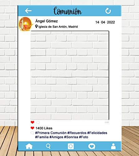 Photocall Instagram comunión 80x110cm Azul| Personaliza
