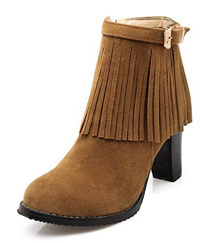 YE Damen High Heel Wildleder Bequem Elegant Blockabsatz Stiefeletten mit Fransen und Schnalle Reißverschluss 8cm Herbst Winter Schuhe Braun