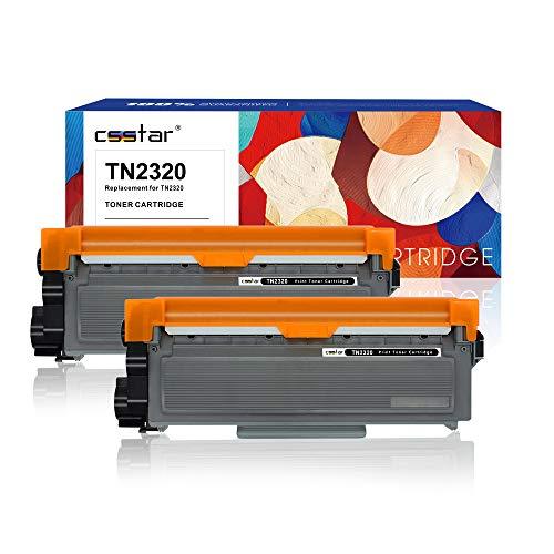 CSSTAR Compatibile Cartuccia di toner per Brother TN2320 TN2310 per MFC-L2700DW DCP-L2500D HL-L2300D HL-L2360DN HL-L2320D HL-L2340DW HL-L2365DW MFC-L2740DW MFC-L2700D Stampante, 2 Pezzi Nero