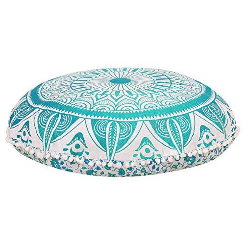 GANESHAM Indian Mandala Floor Pillow Handmade Round Mandala Pillow Throw, Toss Pillow Cover, Hippie Boho Decor Mandala Tapestry, Round Seating Pouf Ottoman, Indian Cushion (Cover Only)
