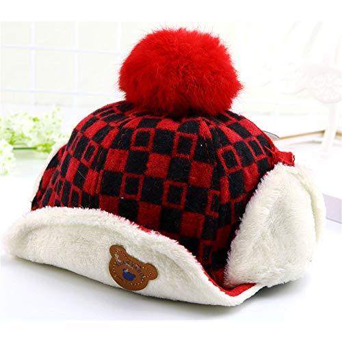tors Hat, Winter Kids Warmen Hut Haarball Weich Entlang Hut Im Freien Sportjunge Mädchen Hut,Red ()