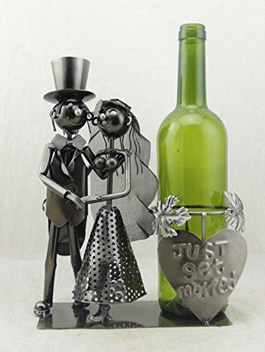 Flaschenhalter,Flaschenkorb,Weinflaschenhalter 'Brautpaar', 28cm,just married