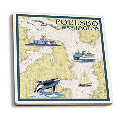 Washington-antik-karte (Lantern Press Poulsbo, Washington, nautische Karte Antik 4 Coaster Set Multi)