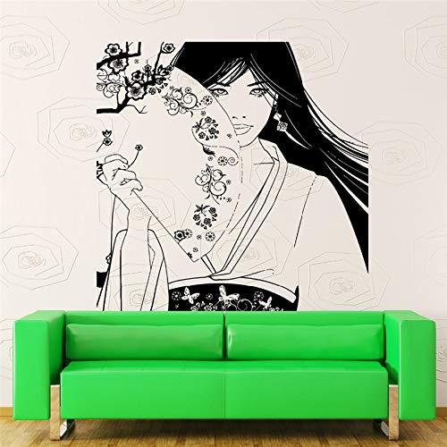 haotong11 Abnehmbare Vinyl Wandaufkleber Vinyl Aufkleber Schöne Geisha Mädchen Japan Oriental Tänzer Dekor Umweltfreundliche Kunst Pic 56 * 60 cm
