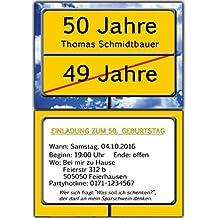50 Einladungskarten Als Ortsschild Einladung Geburtstag Foto   50 Stück