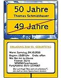 50 Einladungskarten als Ortsschild Einladung Geburtstag Foto - 50 Stück
