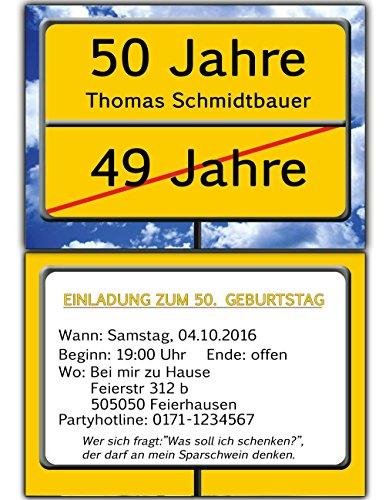 Einladungskarten Als Ortsschild Einladung Geburtstag Foto   30 Stück