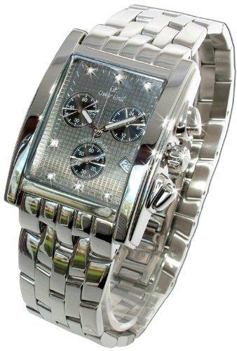 Oskar Emil Rodez Reloj de Lujo Cronografo para Hombre Acero Inoxidable con 7 Diamantes Esfera Gris
