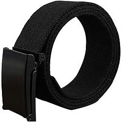 Kentop Unisex Plástico Cinturón Hombre Mujer Lienzo plástico Cinturón Deportes cinturón con automática cinturón Hebillas, Lona, Negro, 110×3.8cm