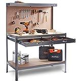 VonHaus Werkbank Werkzeugbank Arbeitstisch Werkstattbank mit Schublade und Werkzeugwand Arbeitsplatte 230KG Kapazität (155cm x 120cm x 60cm)