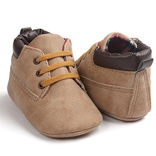 Hunpta Baby Hight Schnitt Kleinkind weiche Sohle Leder Schuhe Baby Boy Girl Schuhe Khaki