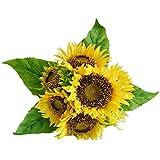 Eazeehome 7pcs Bouquet Fleurs Artificielles Fleur de tournesol en Soie Décor Maison Mariage Florale