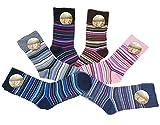 6 Paar original ALLDAYS! Damen Socken Mädchen Strümpfe 85% Baumwolle ohne Gummi Freizeit Bunt (39-42, 809 Bunte Streifen)