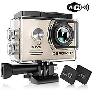 DBPOWER EX5000 Originale Versione WiFi 14MP FHD Sport Action Camera Impermeabile con 2 batterie e Kit Accessory Inclusi (Argento)