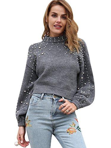 Terryfy Damen Herbst Pullover Oversize Kurz Elegant Langarm Kragen Einfarbig Oberteile Sweater mit Perle Grau