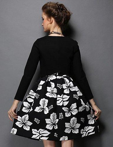 LYQ/ Robe Aux femmes Grandes Tailles Grandes Tailles / Vintage / Soirée / Travail / Décontracté , Imprimé / Mosaïque Col Arrondi Mi-longCoton black-5xl
