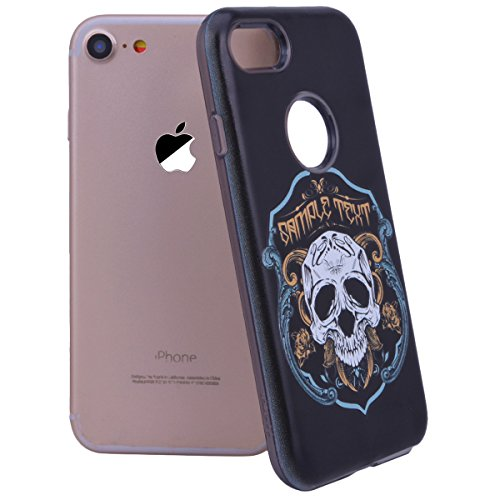 "WE LOVE CASE iPhone 7 Plus Hülle Rose Blume Relief Style iPhone 7 Plus 5,5"" Hülle Weiß Schutzhülle Handyhülle Handytasche Handycover PC Harte Case Anti-Scratch Handy Tasche Schale Schlank Backcover Bu Skull head"