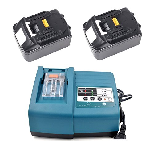 Preisvergleich Produktbild 2X PACK 5,0Ah Werkzeugakkus und Ladegerät für Makita BL1850 196672-8 Akku 18V LI-ION Ersetzen BL1830 BL1840 DC18RA DC18RC