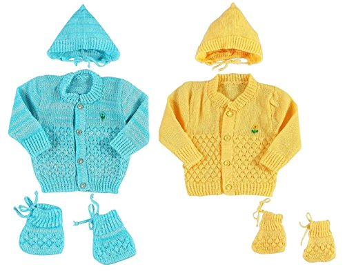 Montu Bunty New Born Baby Woollen Knitted Baby Set (3Pcs Suit) (Pack of 2)