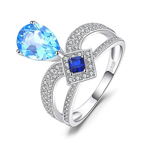 6.3ct Birne Schweizer Blau Topas Prinzessin-Cut Erstellt blau Spinell Cocktail Ring 925 Sterling Silber ()