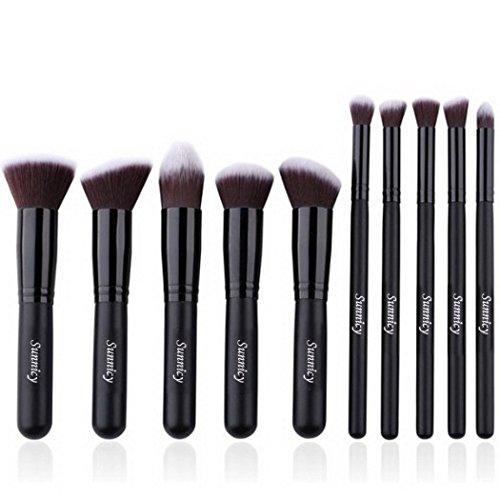 Kit de Pinceau maquillage Professionnel 10 PCS Ombre à Paupière Doré Blush Fondation Pinceau Poudre Fond de teint Anti-cerne Kit Pinceaux avec sac (10 Pcs Black Brown)