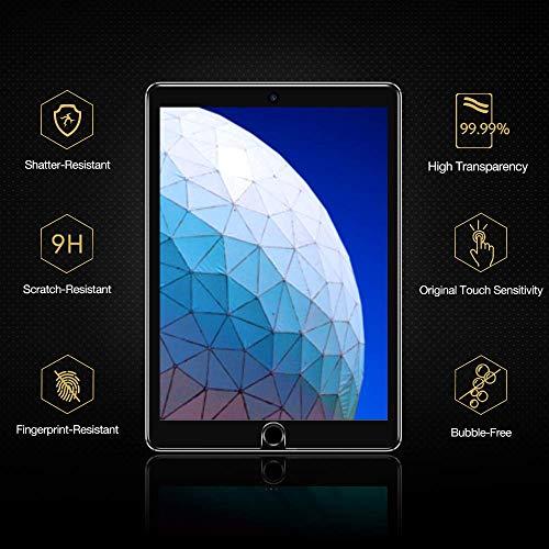 ESR [2 Stück] Schutzfolie für iPad 10.2 2019 (7. Generation)/iPad Air 3/iPad Pro 10.5, Premius 9H Hartglas Displayschutzfolie für iPad 10,2 / 10,5 [Kristallklar Blasenfrei Kratzfest]