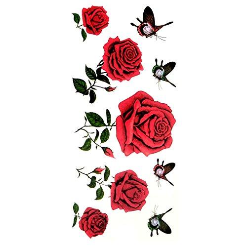 Oottati tatuaggi temporanei sexy rose rosse farfalla (set di 2)