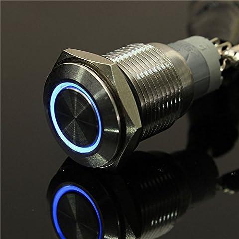 EsportsMJJ 12V 16mm Angel Eye Metal Illuminé Commutateur À Bouton-Poussoir À Led Car Dash -Blue