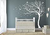 Premium Grand arbre et automne avec feuilles et oiseaux. QUALITÉ Sticker mural en vinyle mat