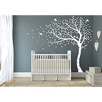 Design Divils Premium Large Sweeping Autumn Tree With Leaves And Birds.  Quality Vinyl Matte Wall Decal Sticker (e. All White) Part 86