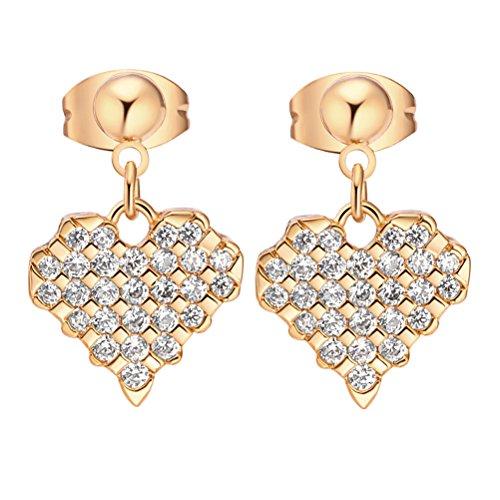 Women Earrings Heart Shape Pendant Ear Drop Jewelry Decor Micro-Inlay Zircons Ear Rings for Girls (Golden)