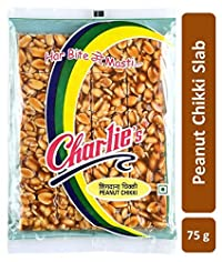 Charliee Slab Peanut Chikki Candy Bars - Groundnut Jaggery Chikki - High Protein - Healthy Indian Sweet 75 g Each - Pack of 10