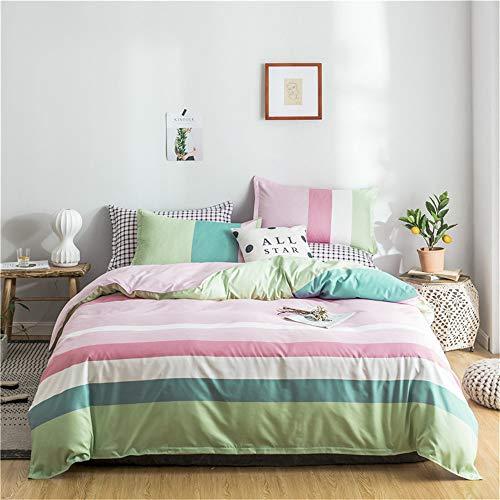 YUNSW Classic Gitterbettwäscheset Gestreifte Bettbezüge Fransen Bettwäsche Set Geometric Grid Sheet Pillowcae E 180x220cm -