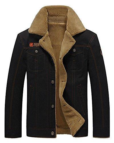 Herren Freizeit Lederjacke Vintage Design Gesteppt Mantel Slim Fit Bikerjacke Schwarz 3XL