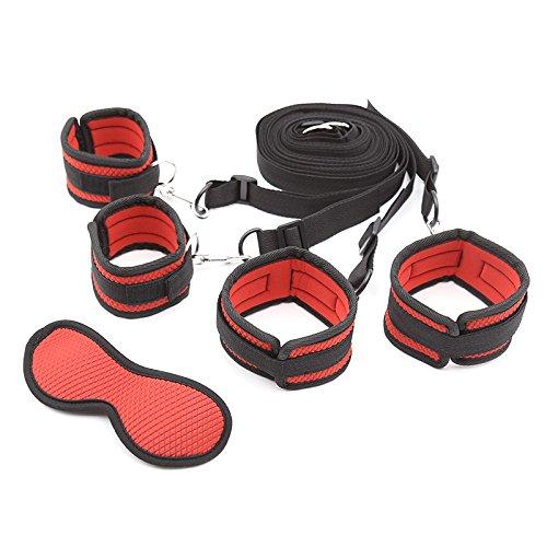Intimate Melody Bandages au Lit Rouge et Noir Portable avec 4 Sangles Réglables, en Nylon et Velours