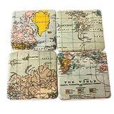 Gisela Graham–Set di 4sottobicchieri in ceramica Atlas mappa del mondo vintage