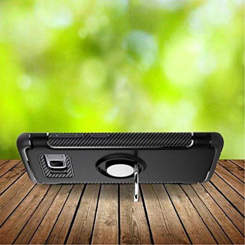 YHUISEN Galaxy S8 Fall, Rüstung Dual Layer 2 in 1 Heavy Duty Schutz Fall mit 360 Grad drehenden Finger Ring Halter und Magnet Auto Halter Fall für Samsung Galaxy S8 ( Color : Navy ) Silver