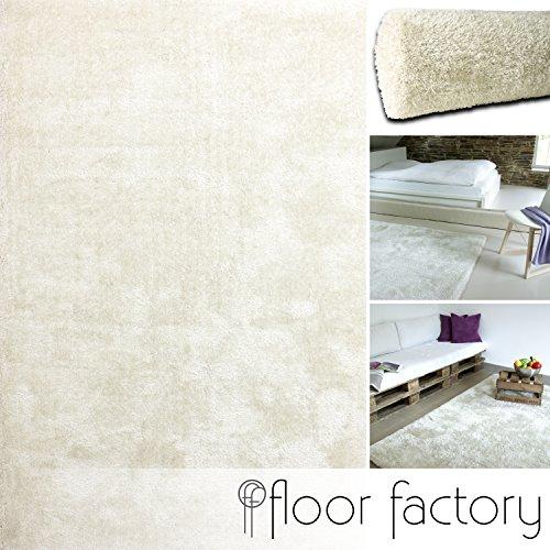 Alfombra Moderna Seasons blanca crema 120x170 cm - Alfombra de Pelo Largo blanda y suave
