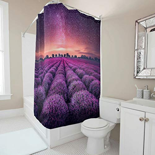 Tenda da doccia antibatterica, motivo floreale, lavanda, cielo stellato, impermeabile, opaca, con ganci, per bagno, lilla, 180 x 200 cm